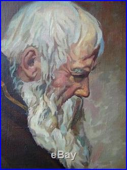 Vintage Russian O/C Old Man Portrait Signed Illegibly