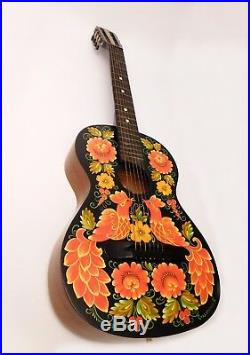 Vintage Russian acoustic 7 string guitar hand painted signed artist, 1965 USSR