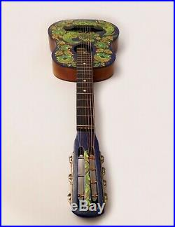 Vintage Russian acoustic 7 string guitar hand painted signed artist 1980s USSR