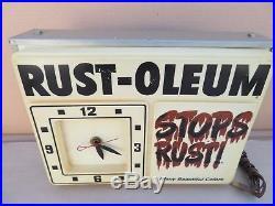 Vintage Rust-Oleum Spray Paint Can Hardware Store Lighted Sign Clock Graffiti