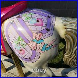 Vintage S&S Woodcarvers Diana Ross Hand Painted Carousel Rocking Horse Signed