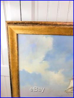 Vintage Sailing Ship Ocean Seas Framed 24X36 Traditional Oil Painting Signed