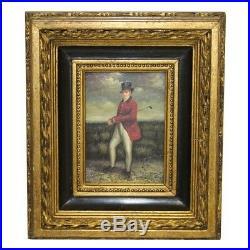 Vintage Scottish Golfer Framed Re-pro Oil Painting