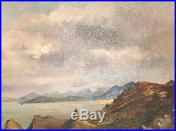 Vintage Scottish Oil Isle of Skye signed G. E. Woods Coastal Scene