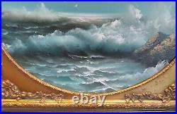 Vintage Sea Scape Oil Painting Signed Artist Talmann Framed In Antique Frame