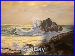 Vintage Seascape Oil Painting Canvas Signed F. Nystrom & R. Wood Beach Ocean