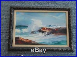 Vintage Seascape Oil Painting signed June Cunningham Arlington Massachusetts Ma