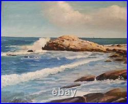 Vintage Seascape Oil on Board 1956 Ocean Scene Signed Coman Atlantic Painting