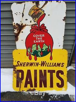 Vintage Sherwin Williams Paint Porcelian Sign Car Boat Advertising Barn Find