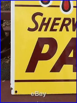 Vintage Sherwin Williams Paints Advertising Double Sided Flanged Porcelain Sign