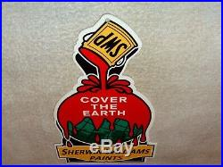Vintage Sherwin Williams Paints Cover The Earth 12 Metal Gasoline & Oil Sign