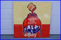 Vintage Sherwin Williams Paints Cover the Earth Original Porcelain Sign RARE