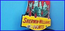 Vintage Sherwin Williams Paints Porcelain Swp Service Station Pump Plate Sign