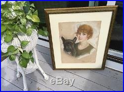 Vintage Signed 1920s Pastel Painting Portrait Woman With French Bulldog Dog