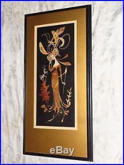 Vintage Signed Art Deco Whimsy Lady Grasshopper Illustration Painting Erte Era