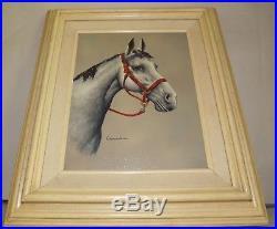 Vintage Signed Casandra Grey Horse Bust Western Art, Framed oil canvas Painting