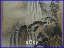 Vintage Signed Chinese Inkwash Painting On Silk Mountain Scene