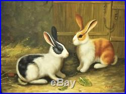 Vintage Signed Country French Framed Oil Painting on Canvas -Two Sweet Rabbits