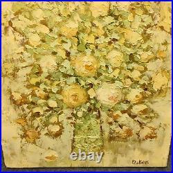 Vintage Signed DuBois Oil Painting On Canvas Impressionist Flower Floral Bouquet