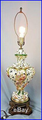 Vintage Signed Italian Capodimonte Lamp Hand Painted Porcelain Footed Dragons