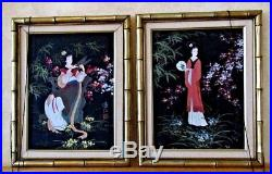 Vintage Signed Japanese Women Geisha Paintings Oil Gilt Framed Pair Set Of 2