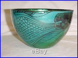 Vintage Signed Jean Tudor Modern Enamel Copper Art Bowl Modernist Fish Painting