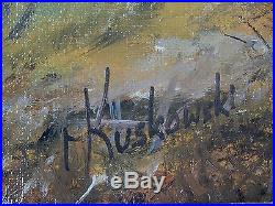 Vintage Signed Kuskowski Oil on Canvas Large Framed Battle Scene Painting