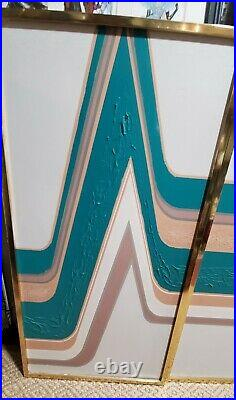 Vintage Signed Letterman Oil Painting 3 Panel Triptych Abstract Aqua & Mauve