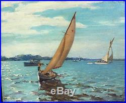 Vintage Signed Listed Frank Reisz Cinncinnatti Original Oil Painting Sailing