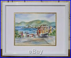 Vintage Signed Listed Original Watercolor Painting San Francisco Cable Car