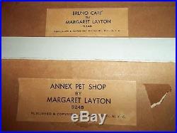 Vintage Signed Margaret Layton City Street Scene Paintings set of 4