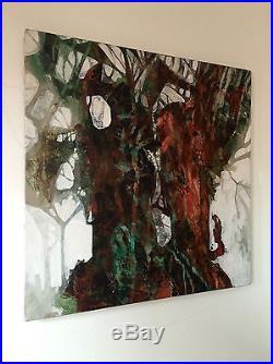 Vintage Signed Mid Century Modern Abstract Acrylic On Canvas Painting Mandziuk