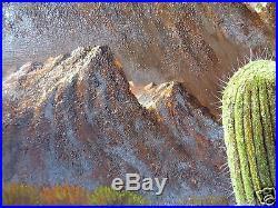Vintage Signed Mystery Artist J. Marta Desert Cactus Flower Painting On Canvas