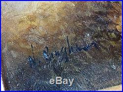 Vintage Signed N. Henry Bingham Oil on Board Framed Battle Scene Painting