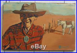 Vintage Signed OILMAN / Oil on Masonite Wood Folk Art Painting Old Cowboy Horse