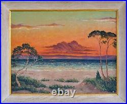 Vintage Signed Oil Painting Florida Sunset Beach Ocean Seascape on Canvas Ryswyk