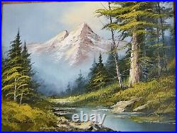 Vintage Signed Oil Painting Landscape River Mountains on Canvas 24 X 20