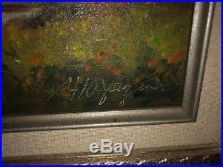 Vintage Signed Oil Painting Mountain Lake Landscape Cabin/Home Framed