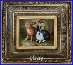 Vintage Signed Oil on Canvas Framed Painting Rabbits Countryside