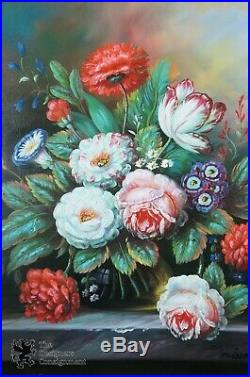 Vintage Signed Original Still Life Oil on Canvas Floral Peonies Bouquet Realism