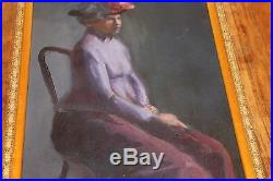 Vintage Signed Painting Woman Hat Philip Myers (b. 1921) Art Students League