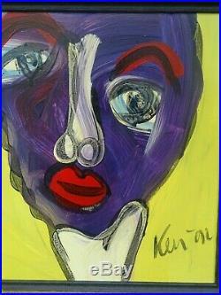 Vintage Signed Peter Keil Figural Portrait Painting MCM Picasso Influence