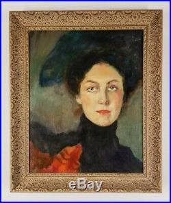 Vintage Signed Victorian Gorgeous Female Portrait Impressionist Painting Modern