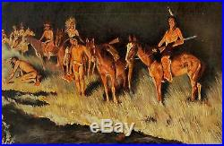 Vintage Signed Western Native American Indian Oil Painting Brush Fire Backfiring