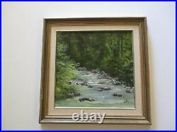 Vintage Small Gem Impressionist Painting Landscape River And Forrest Sliffe