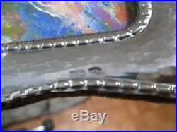 Vintage Small Gem Painting Nude Abstract Woman Modernism W 925 Sterling Frame