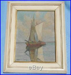 Vintage Small Work Oil on Board of Two Sailing Vessels Signed Warren Long