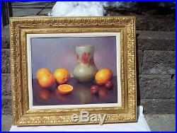 Vintage Still Life Oil Painting by Alfred Jackson in a museum frame