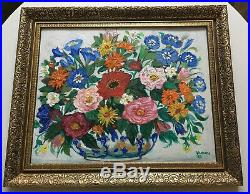 Vintage Stylised Floral Still Life Oil Painting On Board Framed Signed Dated