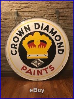 Vintage & Super Rare Porcelain Paint Advertising Sign Crown Diamond Paints